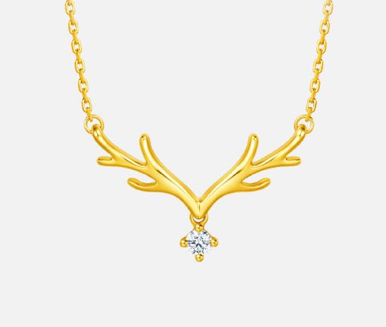 周大福 17916系列 一鹿有你 22K金项链