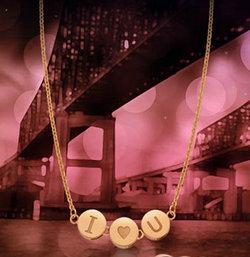 """金弘珠宝""""U·LOVE""""K金项链"""