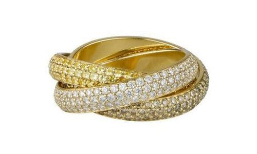 卡地亚Trinity系列戒指,黄K金铺镶白色、棕色及黄色钻石