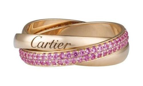 卡地亚Trinity系列戒指,玫瑰金,粉色蓝宝石