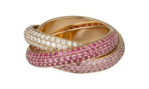 卡地亚Trinity系列戒指,玫瑰金铺镶钻石,粉色蓝宝石