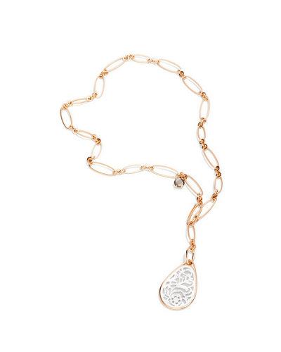 宝曼兰朵Victoria  玫瑰金镶黄铁矿和白水晶链配玫瑰金镶白玛瑙吊坠项链