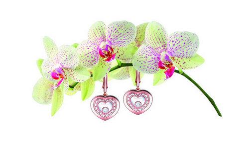 肖邦Very Chopard 珠宝耳环,18K玫瑰金镶嵌钻石共重0.68克拉,型号:837790-5001