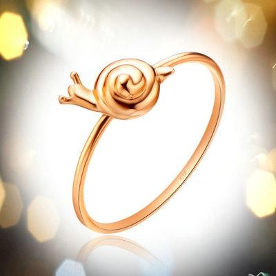 周大福可爱K-gold蜗牛18K金戒指